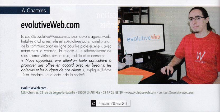 Parution dans le magazine Votre Agglo de Chartres Métropole de mars 2014