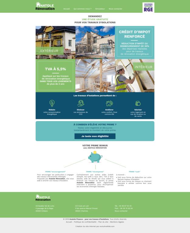 Site internet de l'entreprise Anatole Rénovation