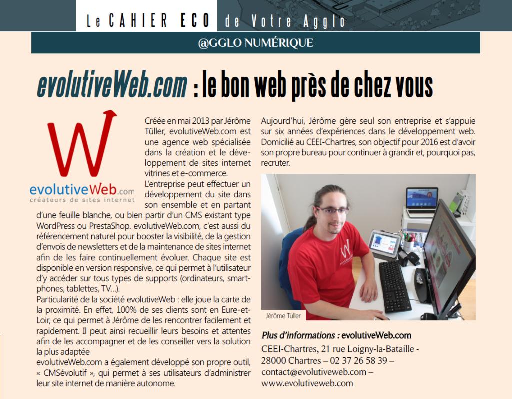 Article dans le magazine Votre Agglo de Chartres Métropole d'été 2016