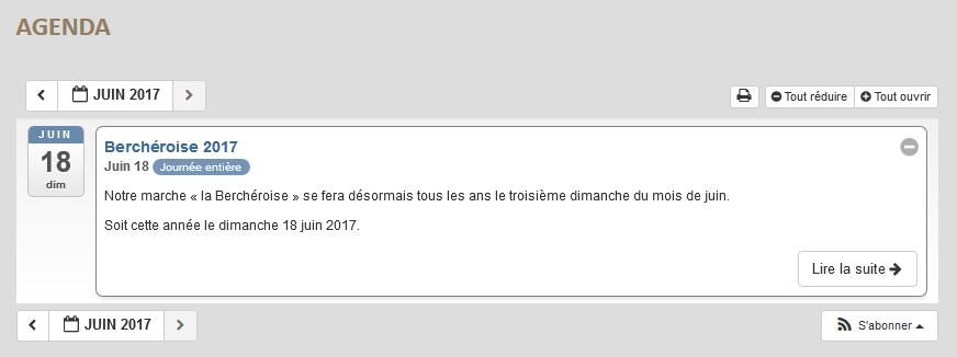 Agenda des évènements sur le nouvea site internet de Berch-Pierre