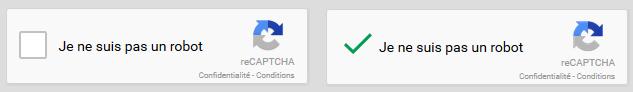 protection anti-spam reCaptcha de Google sur le formulaire de contact