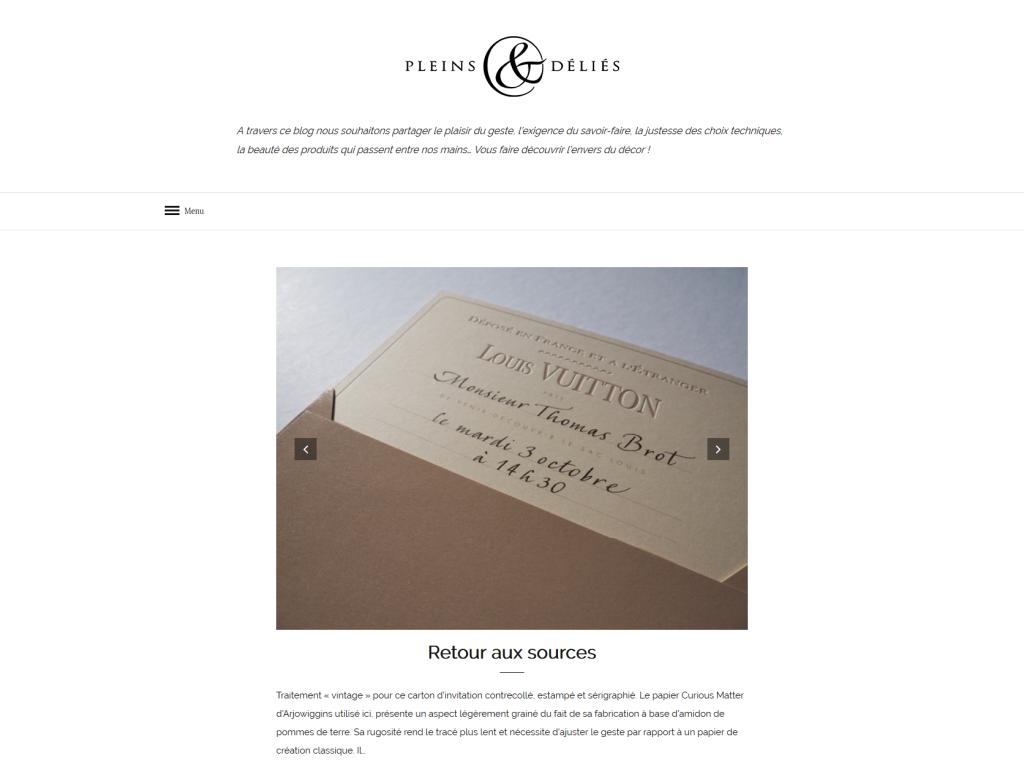 Blog pour le site internet de Pleins & Déliés