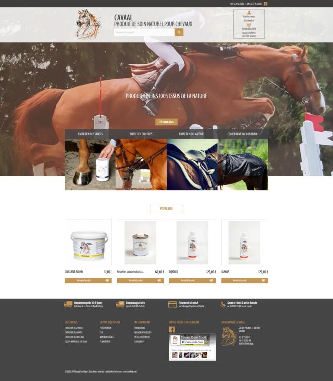Page d'accueil de la boutique en ligne de Cavaal