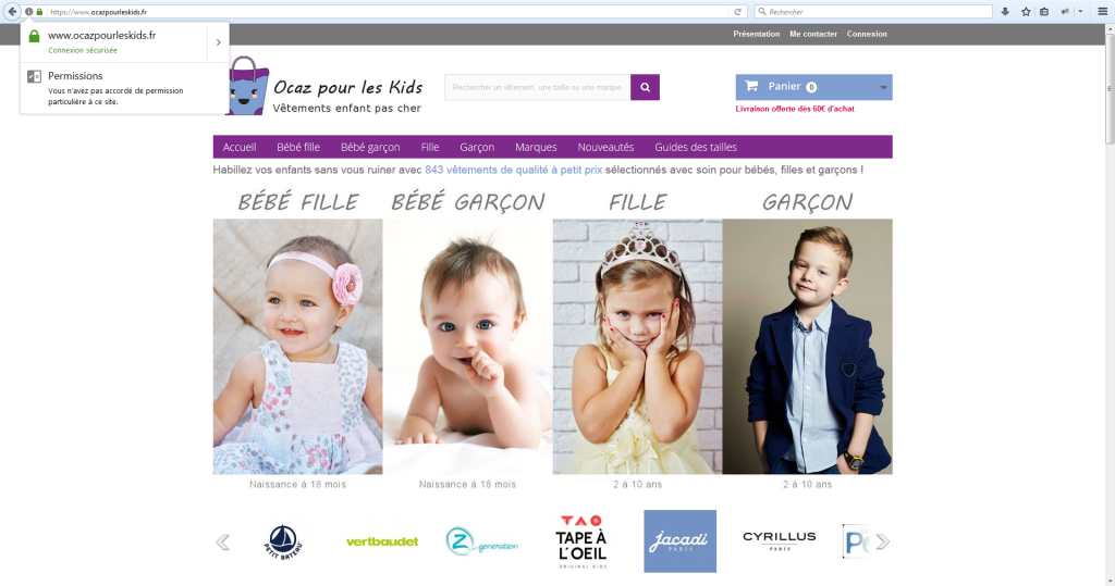 Connexion sécurisé en HTTPS pour la boutique en ligne de Ocaz pour les Kids