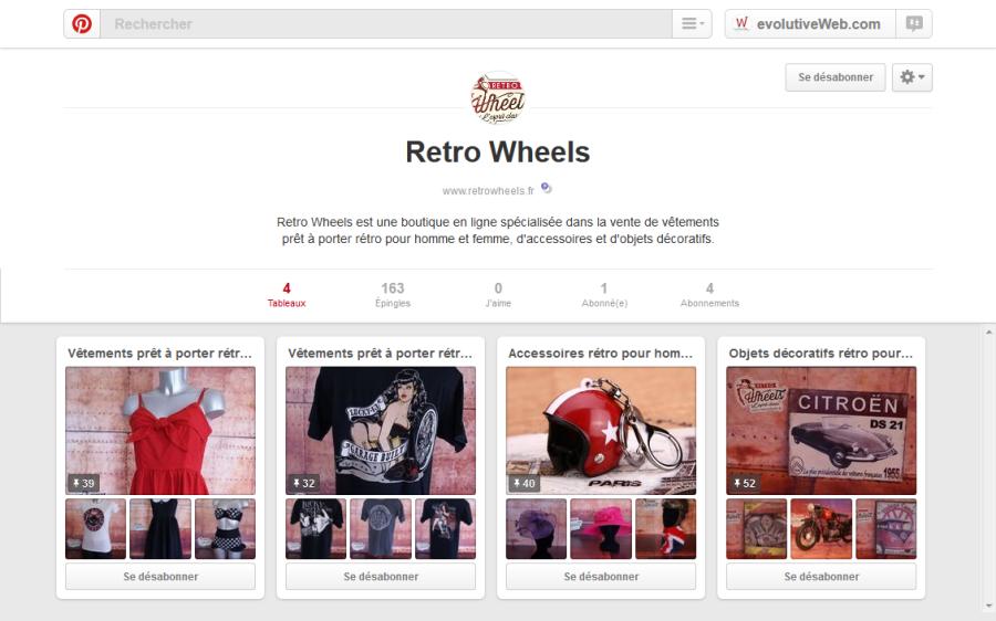 Création page sur Pinstarest pour Retro Wheels