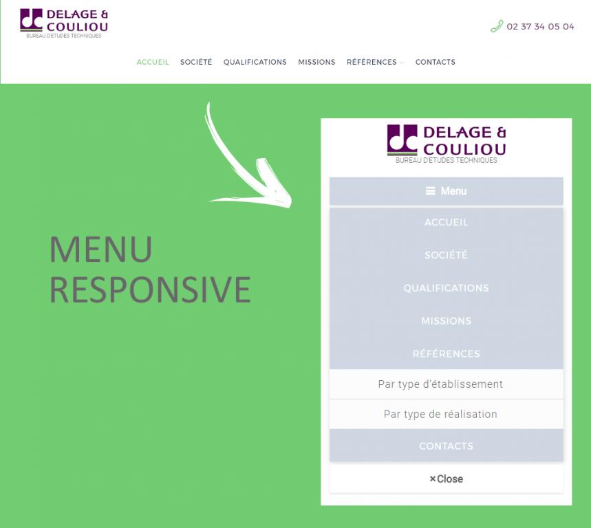 Menu responsive sur le nouveau site internet de Delage et Couliou