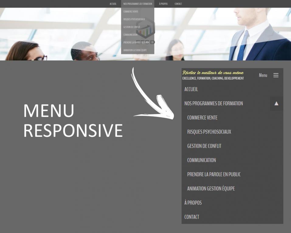 Menu responsive sur le site internet de EFCD