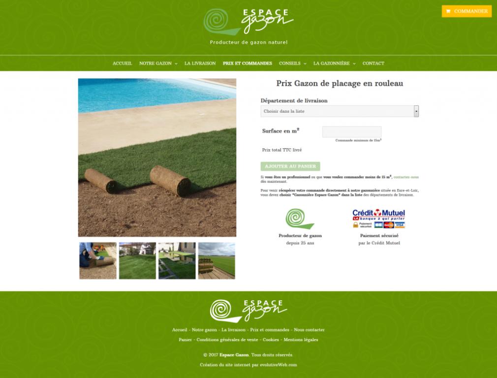Vente en ligne sur le site internet de Espace Gazon