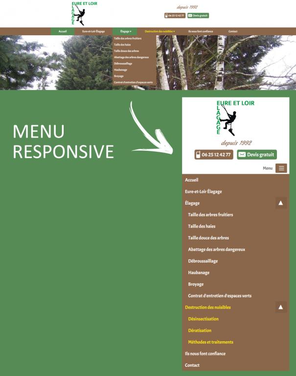 Menu de navigation responsive sur le site internet d'Eure-et-Loir Élagage