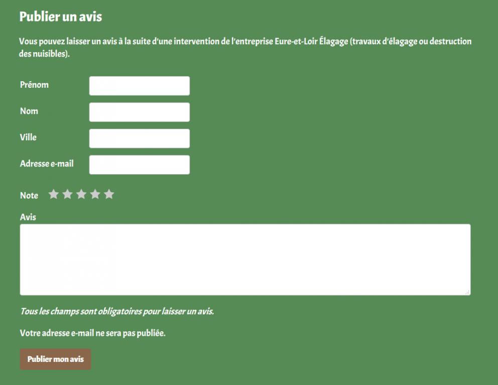 Possibilité de publier un avis client sur le site internet d'Eure-et-Loir Élagage