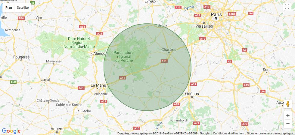 Zone d'intervetion d'Eure-et-Loir Élagage sur une carte de localisation Google Maps