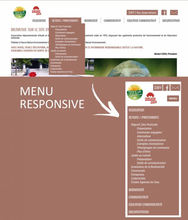 Menu de navigation responsive sur le nouveau site internet d'Eure-et-Loir Nature