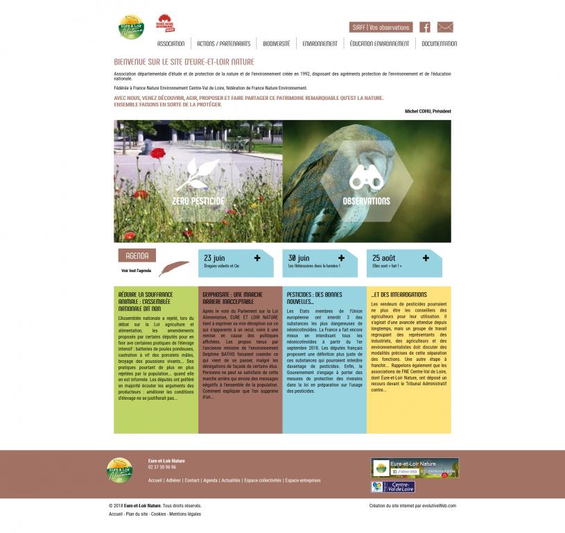 Page d'accueil du nouveau site internet d'Eure-et-Loir Nature