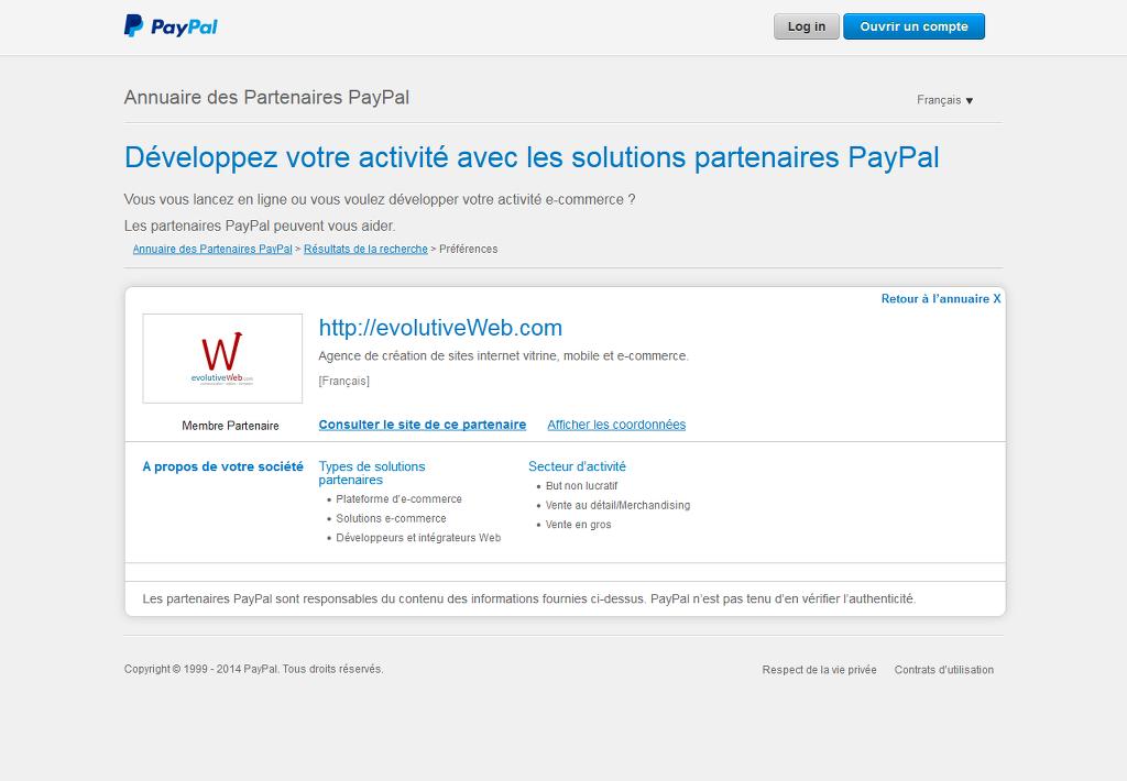 evolutiveWeb.com partenaire PayPal