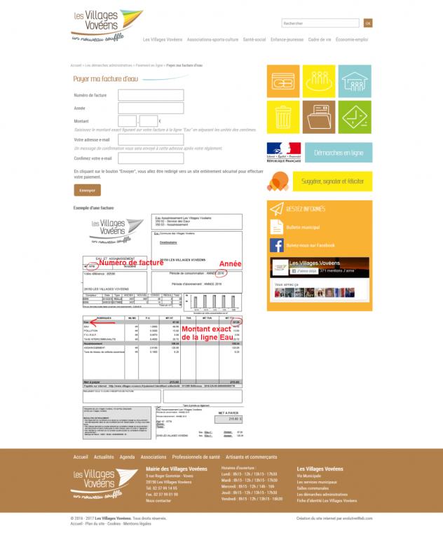 Formulaire de paiement sécurisé TIPI de la DGFiP sur le site des Villages Vovéens