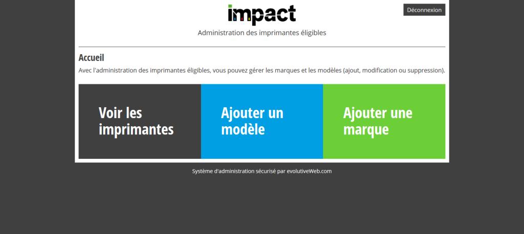 Partie d'administration des imprimantes éligibles du site internet de la société Impact