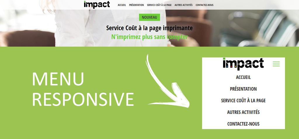 Menu de navigation responsive sur le site internet de la société Impact