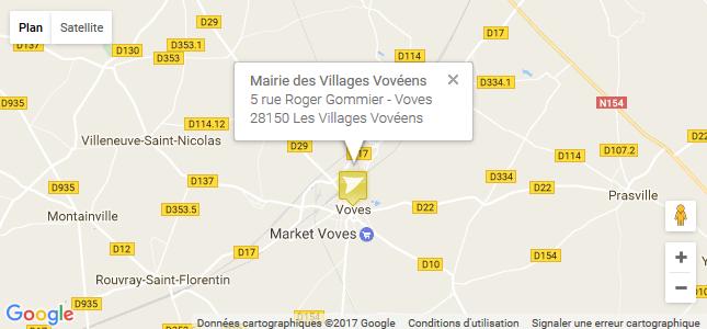 Carte de localisation Google Maps sur le site internet des Villages Vovéens