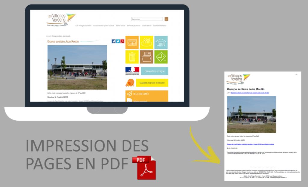Impression des pages en PDF sur le site internet des Villages Vovéens