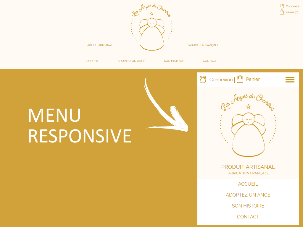 Menu de navigation en responsive design sur la boutique en ligne Les Anges de Chartres