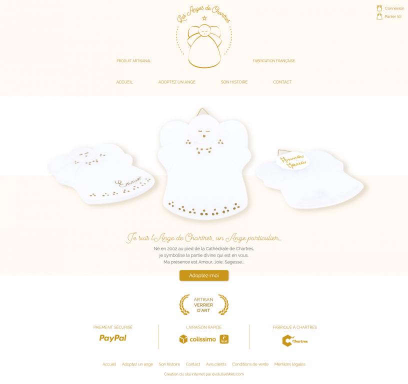 Page d'accueil de la boutique en ligne Les Anges de Chartres