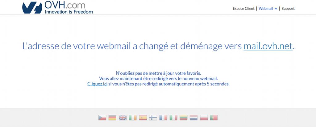 Message sur le changement d'adresse du webmail de OVH