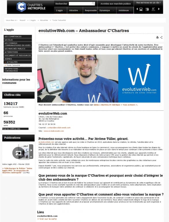 evolutiveWeb.com sur le site internet de Chartres Métropole