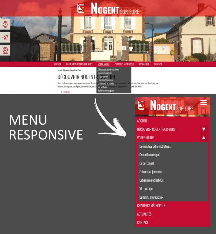 Menu responsive sur le site internet de Nogent-sur-Eure