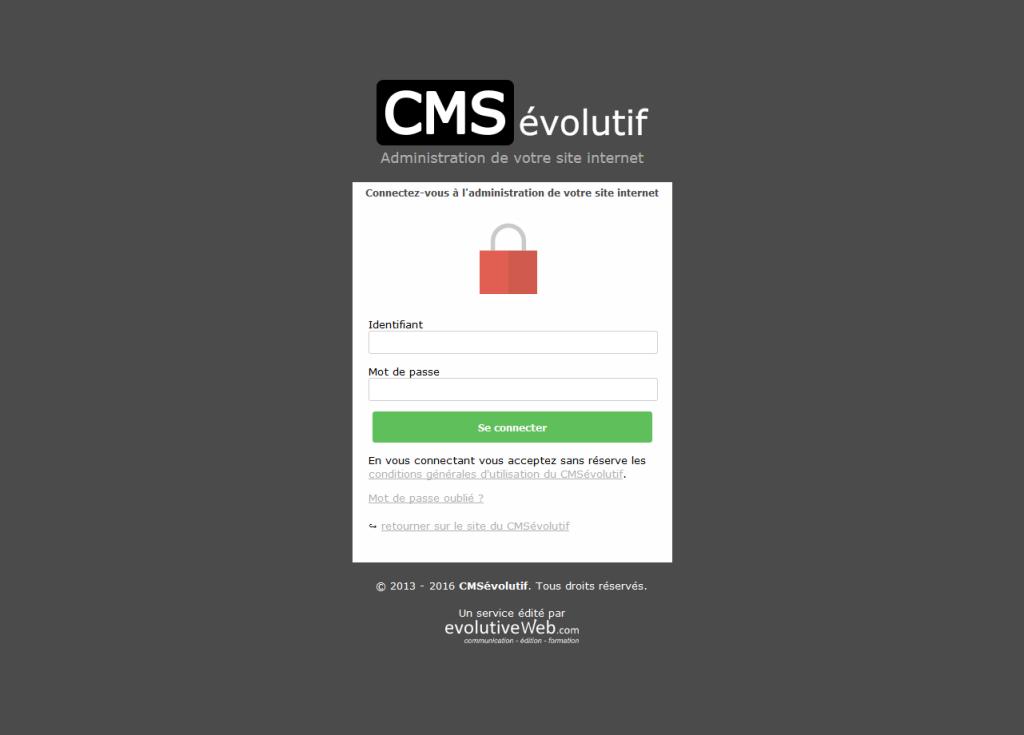 Nouveau formulaire de connexion sécurisé pour le CMSévolutif