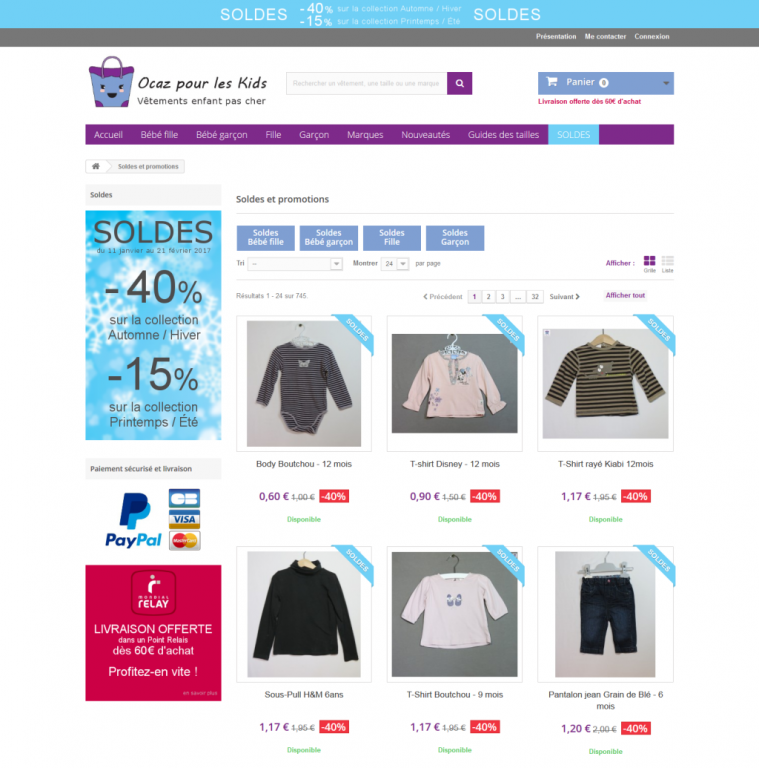 Soldes vêtements à petit prix pour bébés et enfants
