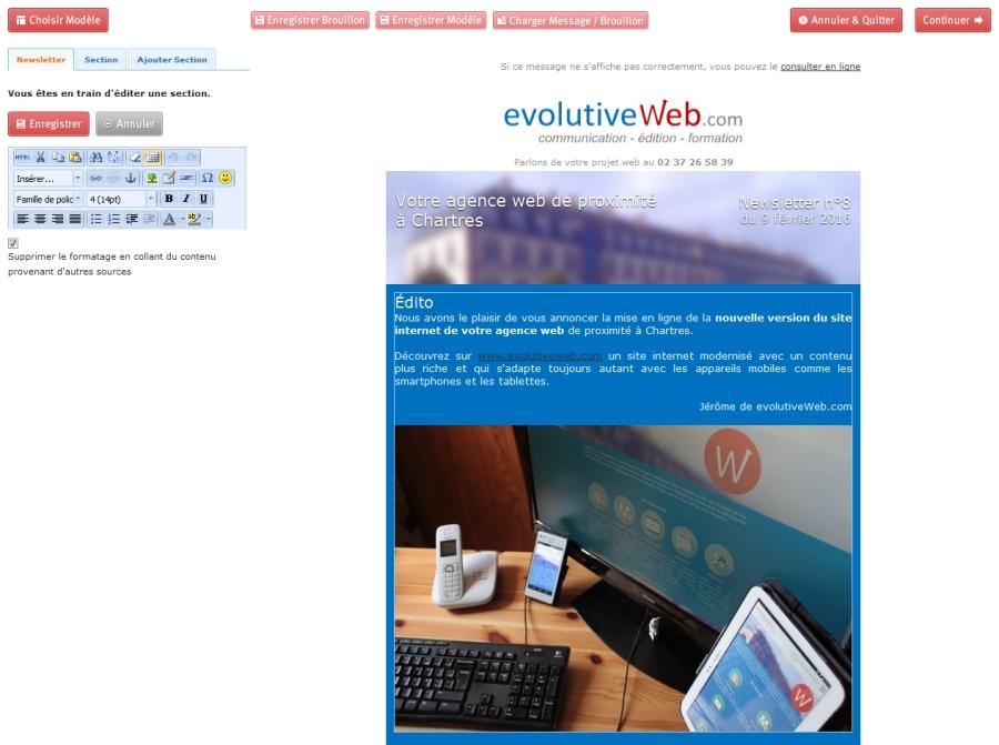 Outil de création et de gestion des newsletters
