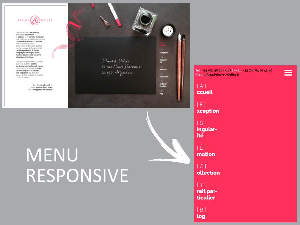Site et menu en responsive design pour le nouveau site internet de Pleins & Déliés