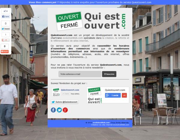 Pré-lancement du site Quiestouvert.com