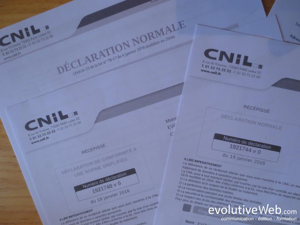 Récépissé de déclarations normale et simplifiée à la CNIL