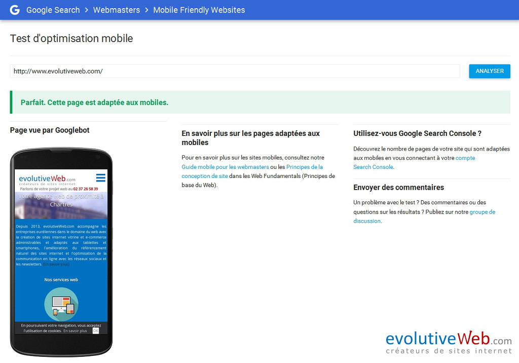 Résultat du test sur l'optimisation mobile de votre site internet avec l'outil Mobile Friendly Websites de Google