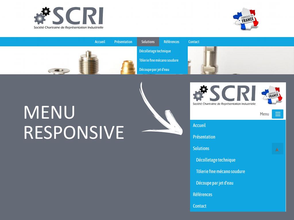 Menu de navigation en responsive design pour le site internet de SCRI