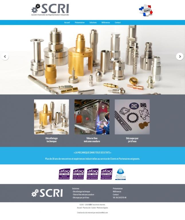 Page d'accueil du site internet de SCRI