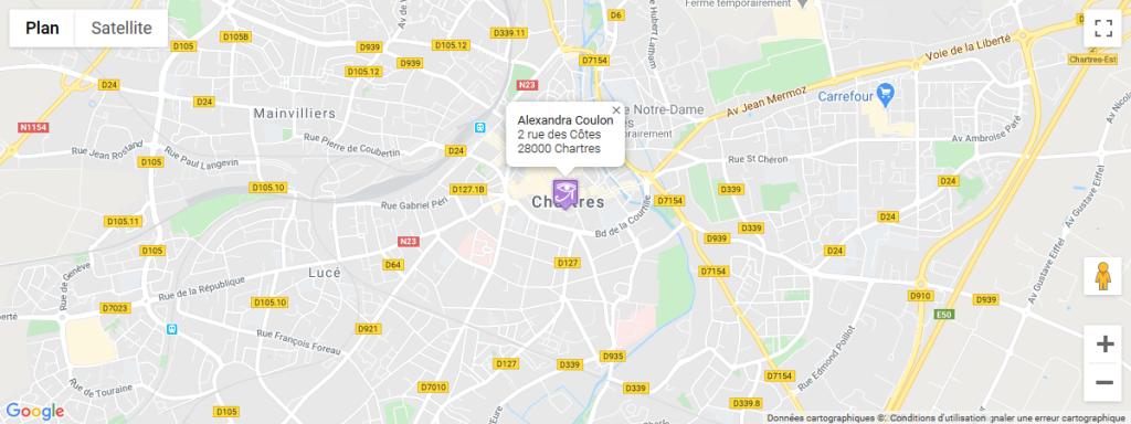 Carte de localisation Google Maps pour situer l'emplacement du cabinet à Chartres