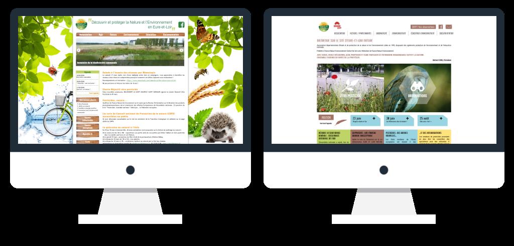 Aperçus avant et après la refonte du nouveau site internet d'Eure-et-Loir Nature
