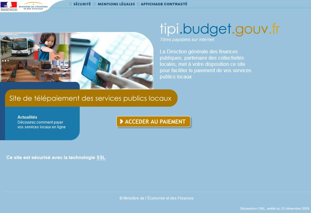 Site internet du système de paiement sécurisé TIPI de la DGFip