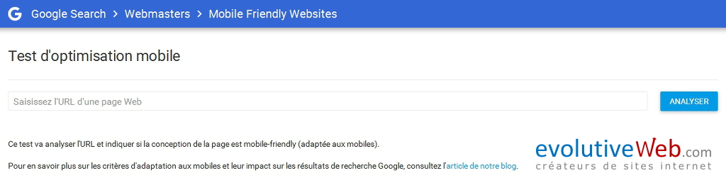 Tester l'optimisation mobile de votre site internet avec l'outil Mobile Friendly Websites de Google