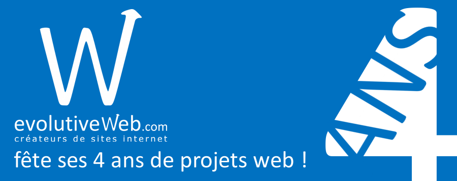 Votre agence web evolutiveWeb.com eu Eure-et-Loir fête ses 4 ans