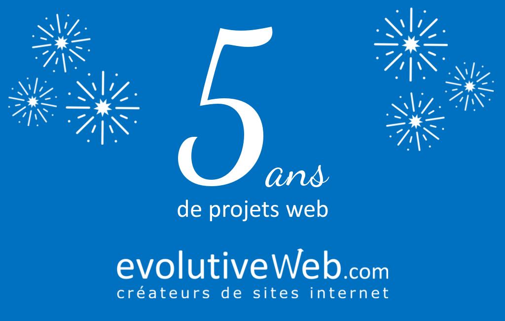 Votre agence web evolutiveWeb.com fête ses 5 ans