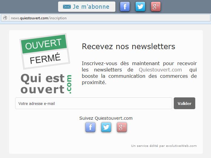 Formulaire d'inscription aux newsletters avec bouton de partage vers les réseaux sociaux
