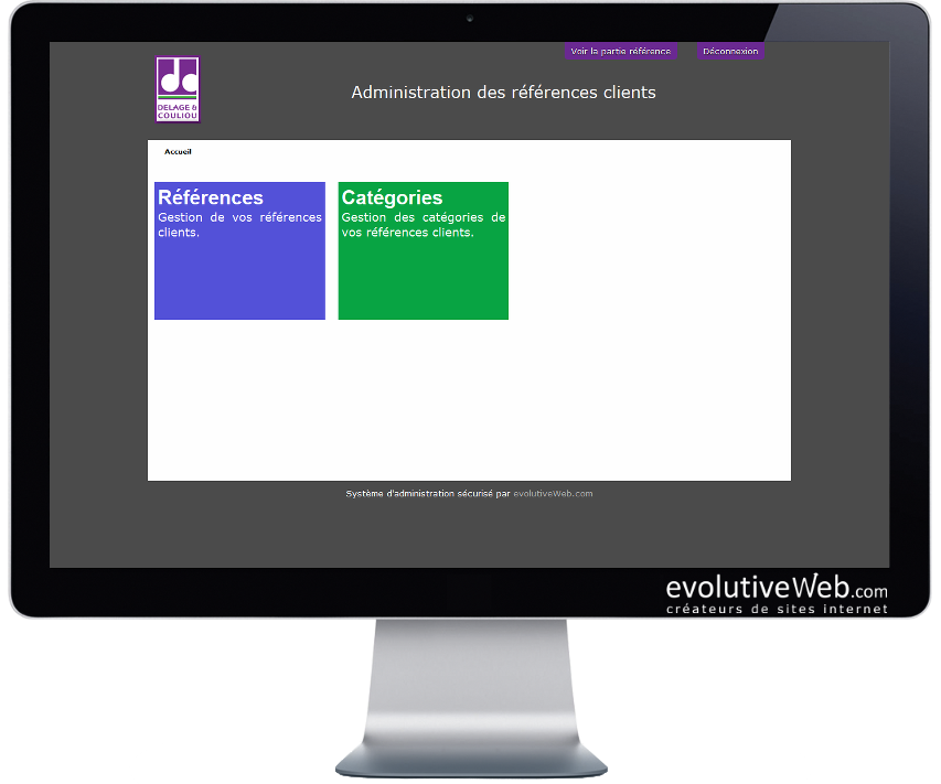 Espace d'administration des références clients du site internet de Delage & Couliou