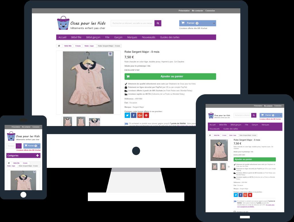 Refonte de la boutique en ligne Ocaz pour les Kids