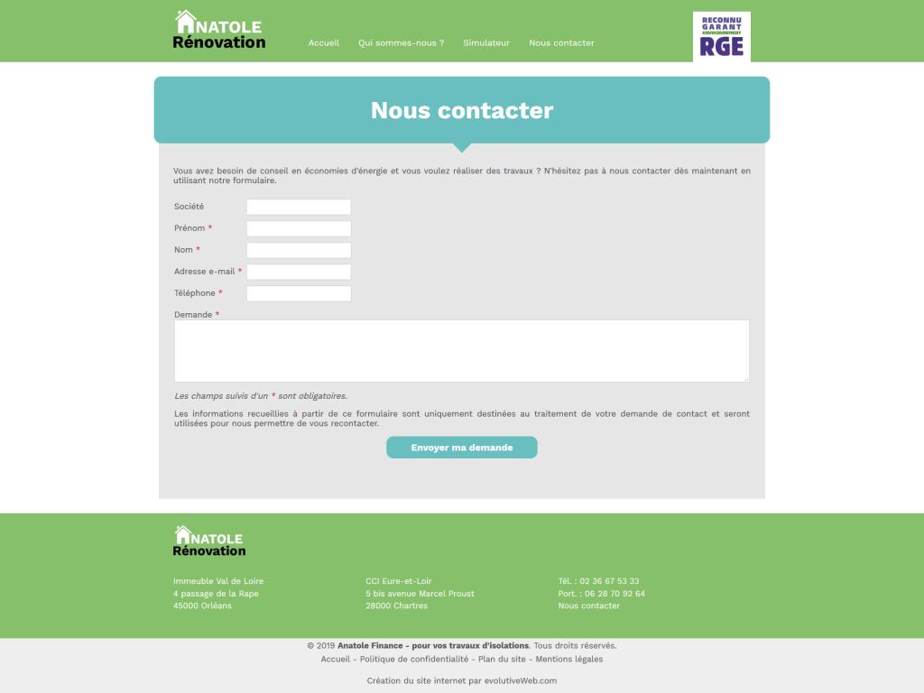 Page avec le formulaire de contact sur le site internet de Anatole Rénovation
