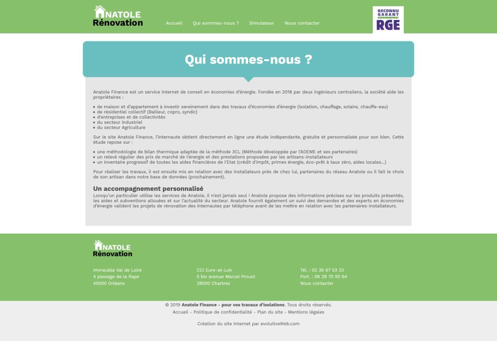 Page de présentation sur le sitei internet de Anatole Rénovation