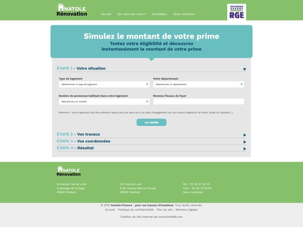Page avec le simulateur prime énergie sur le site internet de Anatole Rénovation