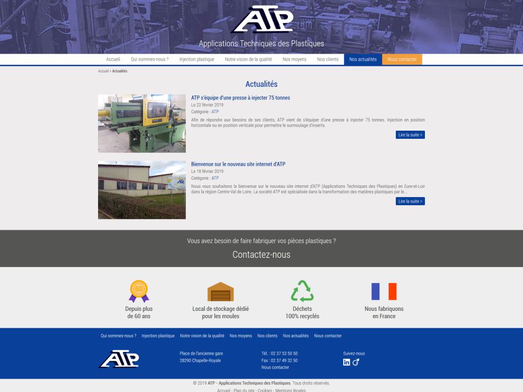 Page des actualités sur le site internet d'ATP